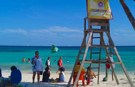 Lifeguard on duty keeping Playa del Carmen safe