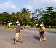 Taking a sunny walk through town in Playacar