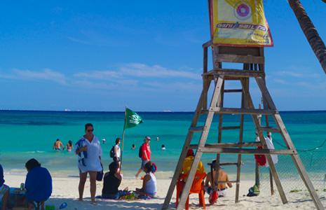 Lifeguard on duty keeping Playa del Carmen safe